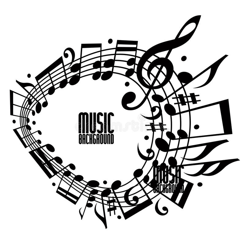 Solo fondo simple de la música del color con las notas y la clave stock de ilustración