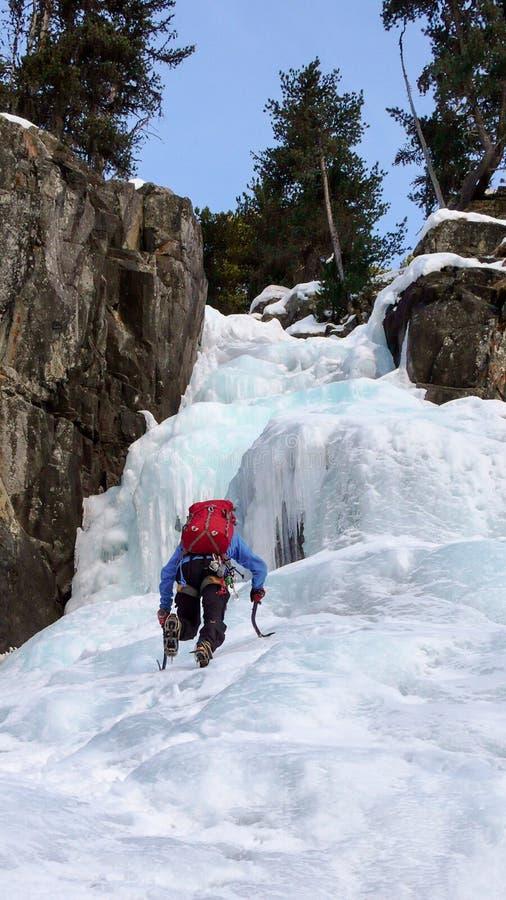 Solo gratuit de glaciériste montant une chute de glace dans les Alpes suisses images libres de droits
