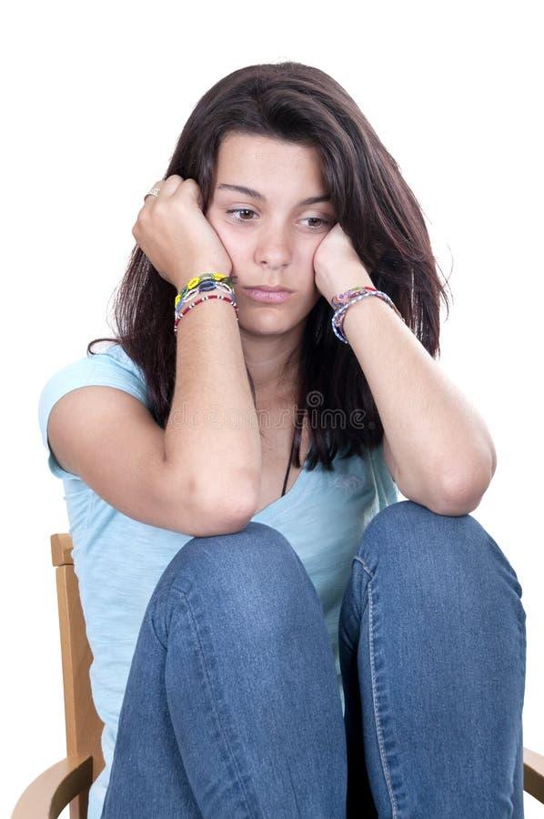 Solo gridato ragazza teenager di depressione isolato immagini stock libere da diritti