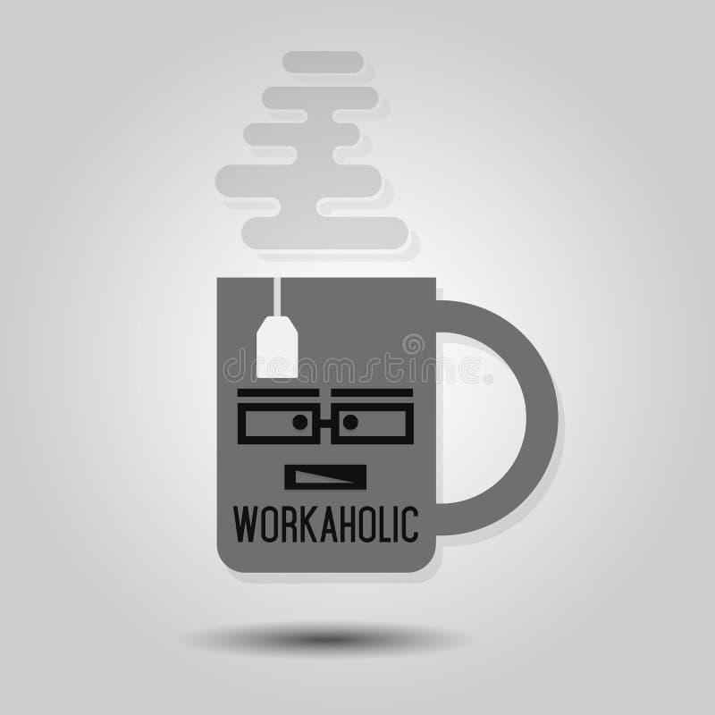 Solo icono abstracto de la taza del trabajoadicto con la bolsita de té y un poco de vapor ilustración del vector