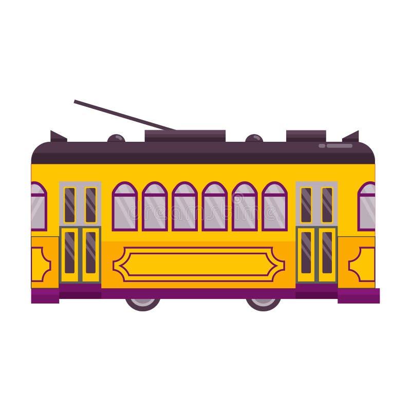 Solo icono de la tranvía retra amarilla ilustración del vector