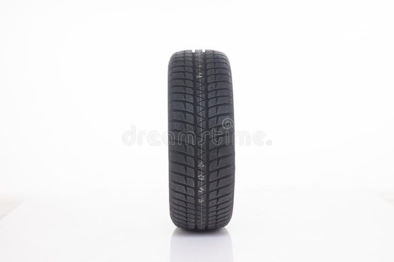 Solo neumático de coche con la impresión del invierno foto de archivo libre de regalías