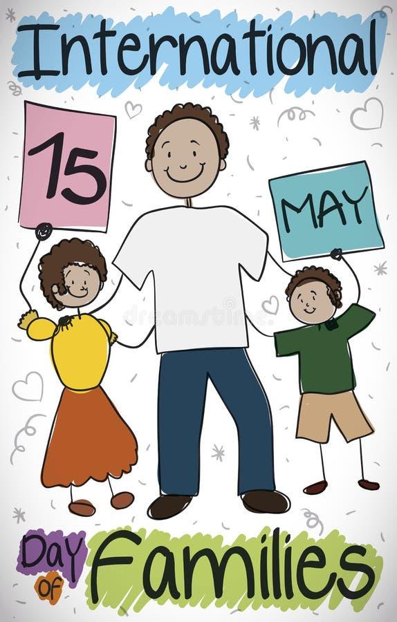 Solo papá que celebra el día internacional con sus niños, ejemplo de las familias del vector libre illustration