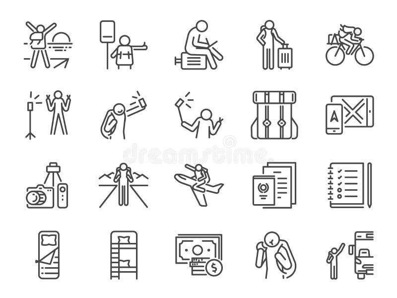 Solo podróżnik linii ikony set Zawierać ikony jako podróż, wakacje, wycieczka turysyczna, transport, wakacje, turystyka i bardzie royalty ilustracja