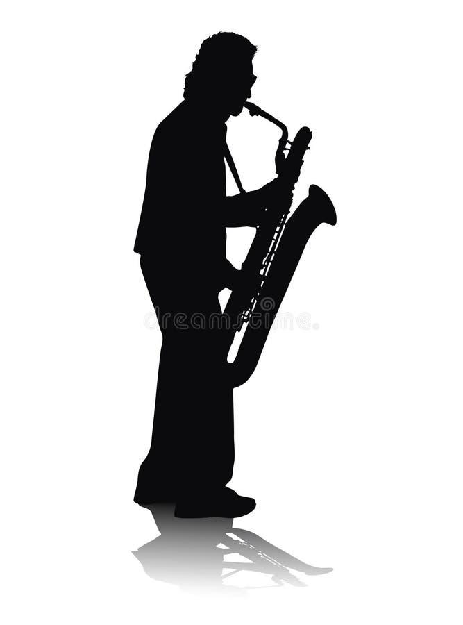 Solo sax. Jazz improvisation on sax, isolated man on white background royalty free illustration