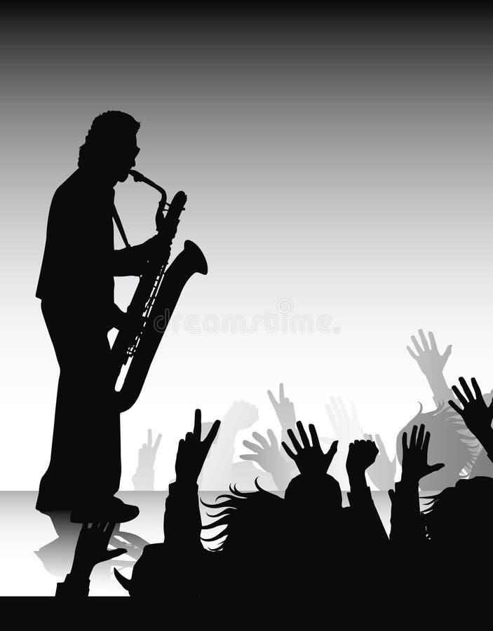 Solo sax. Jazz improvisation, on the concert vector illustration