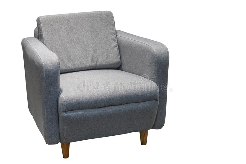 Solo sofá gris en estilo moderno aislado en blanco imágenes de archivo libres de regalías
