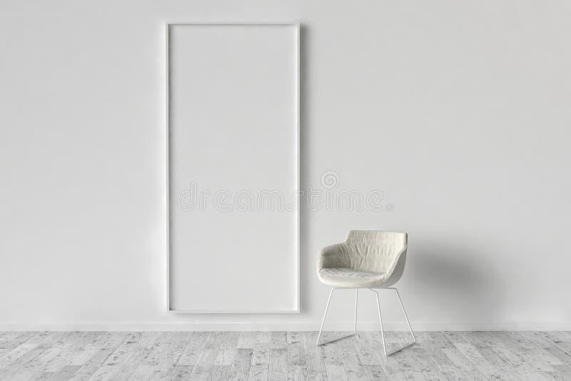 Solo stoel en lege omlijstingachtergrond vector illustratie