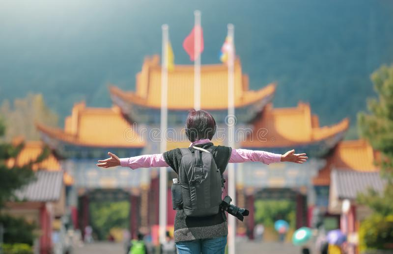 Solo travel female tourist at Chongsheng Temple in Dali old town,Yunnan ,China royalty free stock images