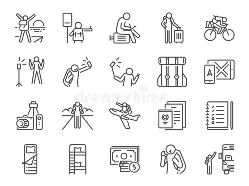 Solo traveler line icon set. Included icons as travel, vacation, tour, transport, holiday, tourism and more. royalty free illustration