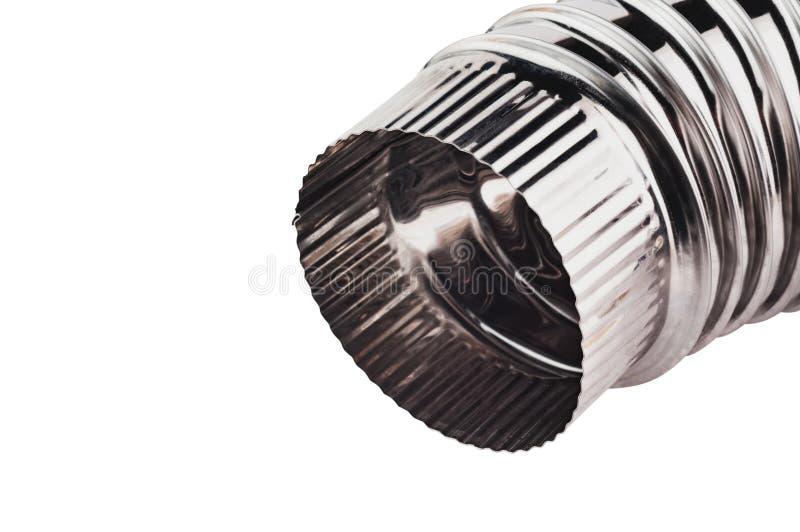 Solo tubo acanalado del codo del cromo para la ventilación en el hogar o la oficina o el otro edificio aislada en el fondo blanco fotografía de archivo libre de regalías