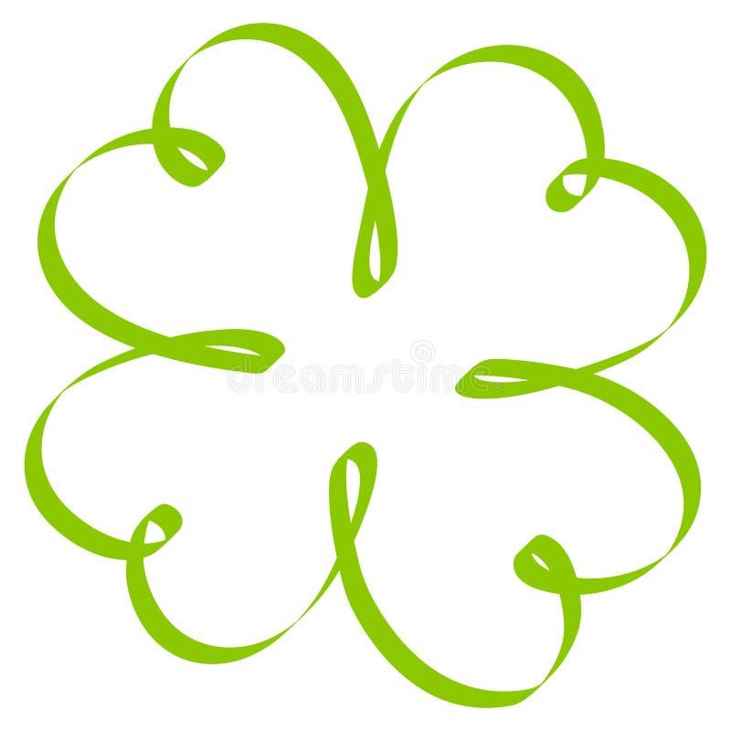 Solo verde torcido aislado de las hojas del trébol cuatro de la caligrafía stock de ilustración
