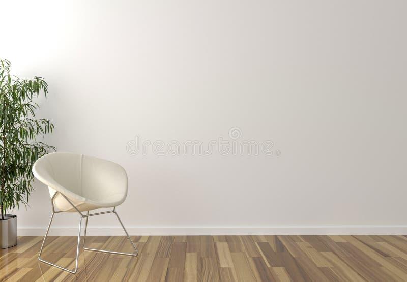 Solo vit stol, inre växt och tom vägg i bakgrund arkivfoto