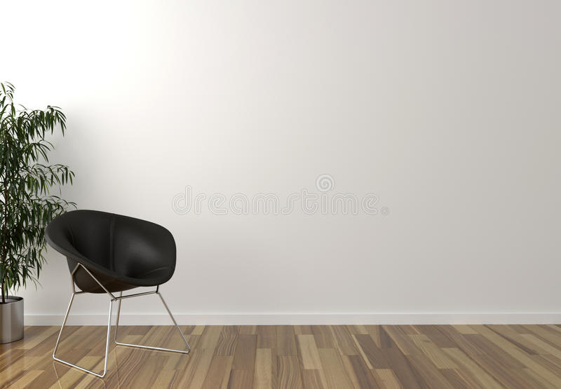 Solo zwarte stoel, binnenlandse installatie en blinde muur op achtergrond vector illustratie