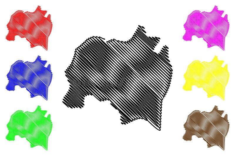 Solola-Abteilung Republik Guatemala, Abteilungen der Guatemala-Kartenvektorillustration, Gekritzelskizze Solola-Karte lizenzfreie abbildung