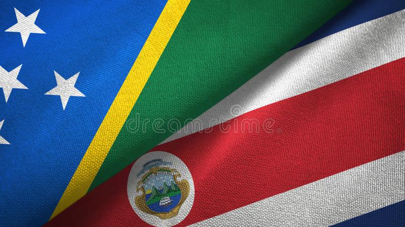 Solomon Island and Costa Rica two flags textile cloth, fabric texture vector illustration