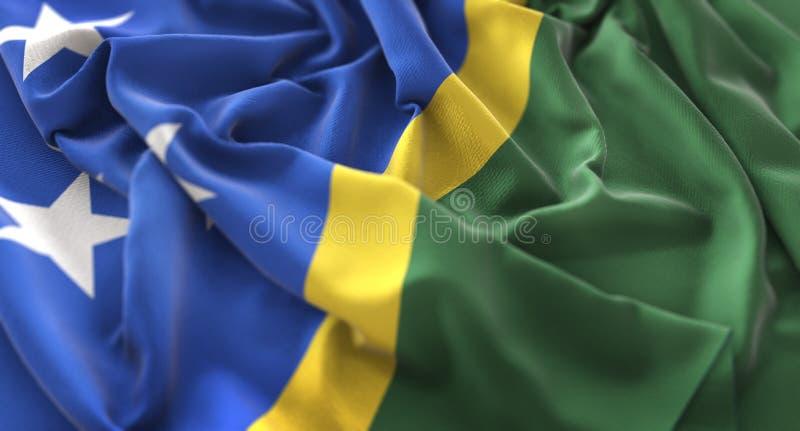 Solomon Islands Flag Ruffled Beautifully che ondeggia macro primo piano S fotografie stock