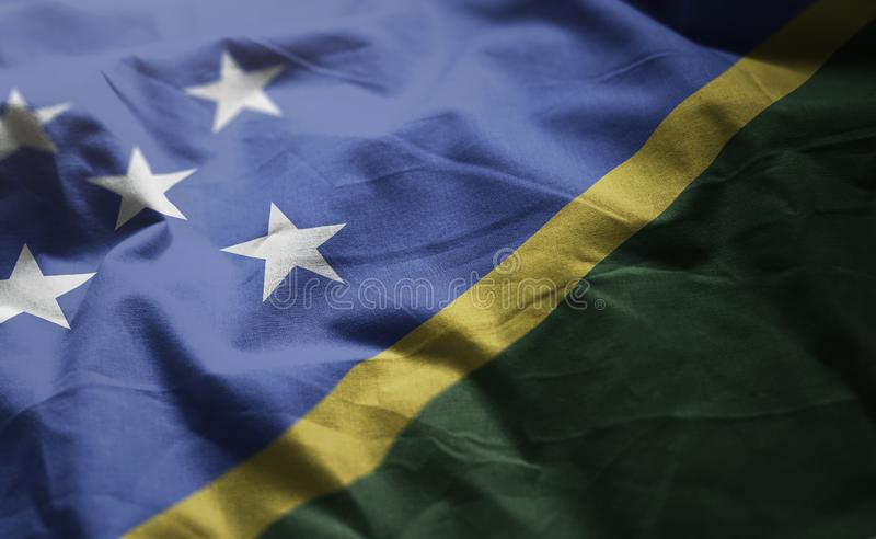 Solomon Islands Flag Rumpled Close para arriba foto de archivo