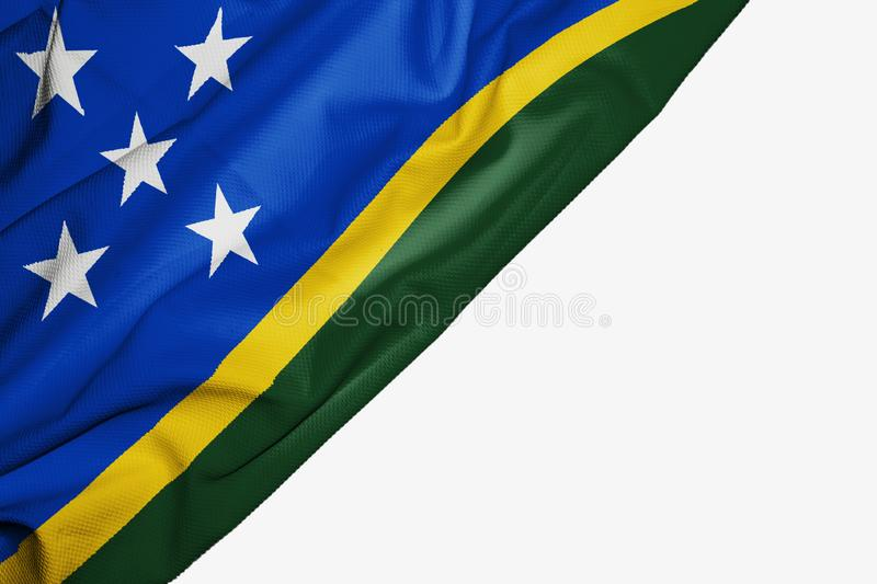 Solomon Islands flagga av tyg med copyspace för din text på vit bakgrund royaltyfri illustrationer