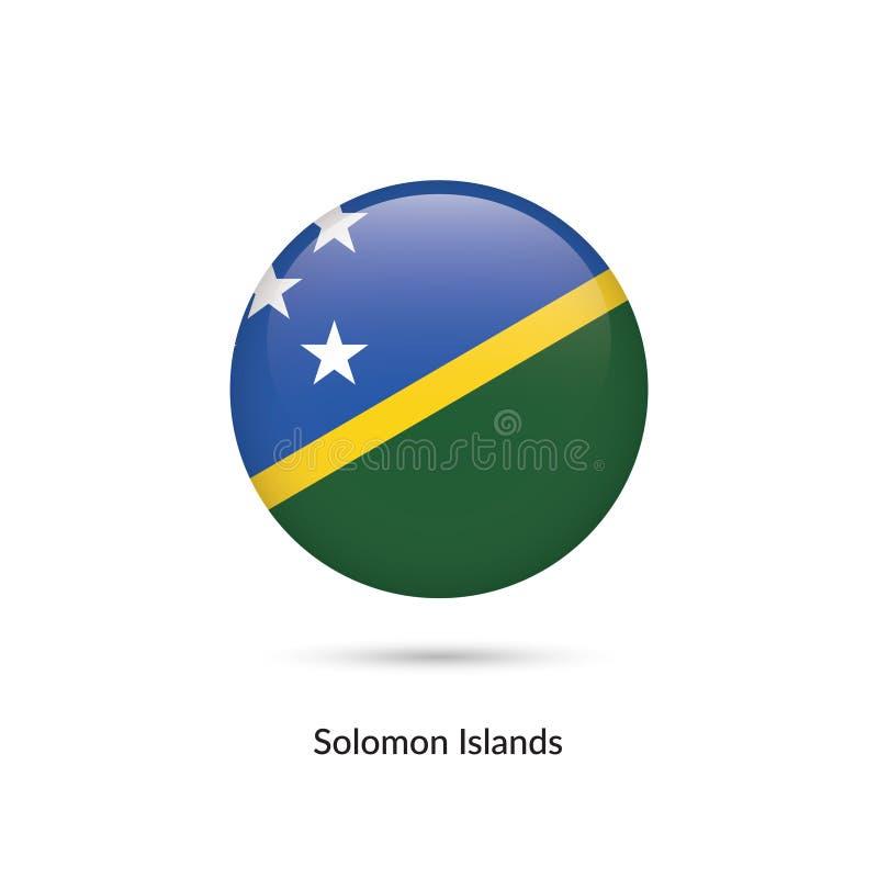 Solomon Islands flagga - rund glansig knapp stock illustrationer