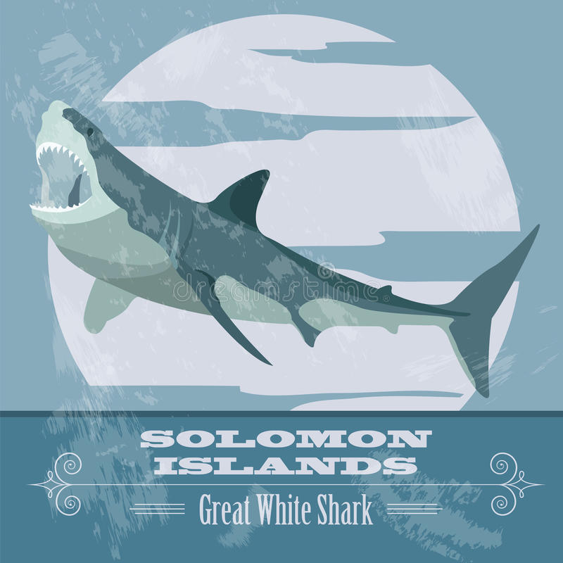 Solomon islands. Great white shark. Retro styled image. Vector illustration royalty free illustration