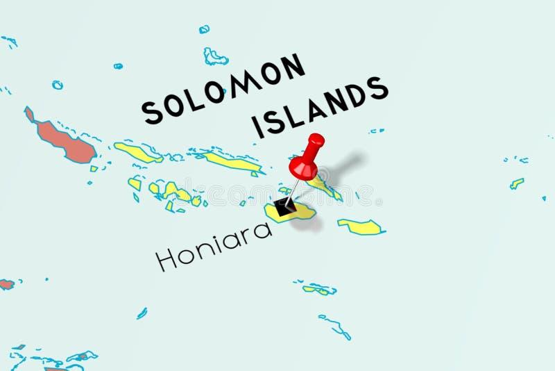 Solomon Islands, Honiara - capital, fijado en mapa político stock de ilustración