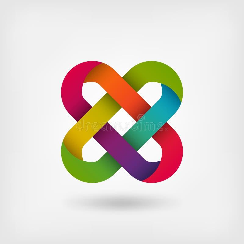 Solomon knot in rainbow colors vector illustration