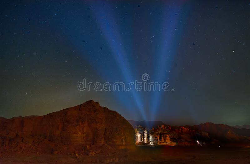 Solomon pillars at noght in Timna, Israel stock images