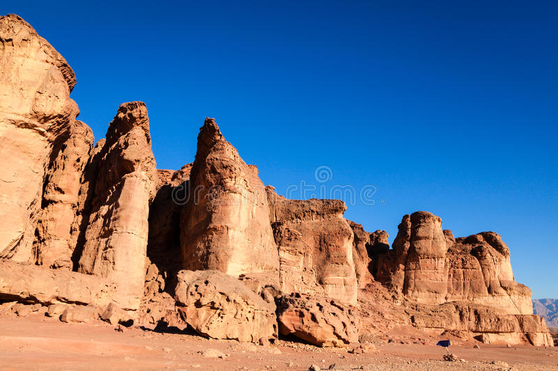Solomon Pillars. Rock formations known as Solomon Pillars in Timna National Park in Israel stock photo