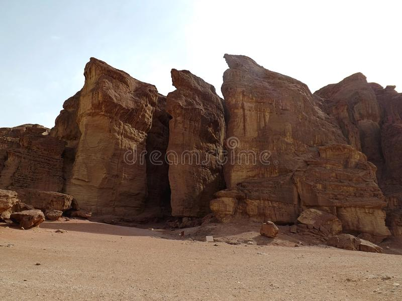 Solomon`s Pillars in Timna Park Israel royalty free stock photo