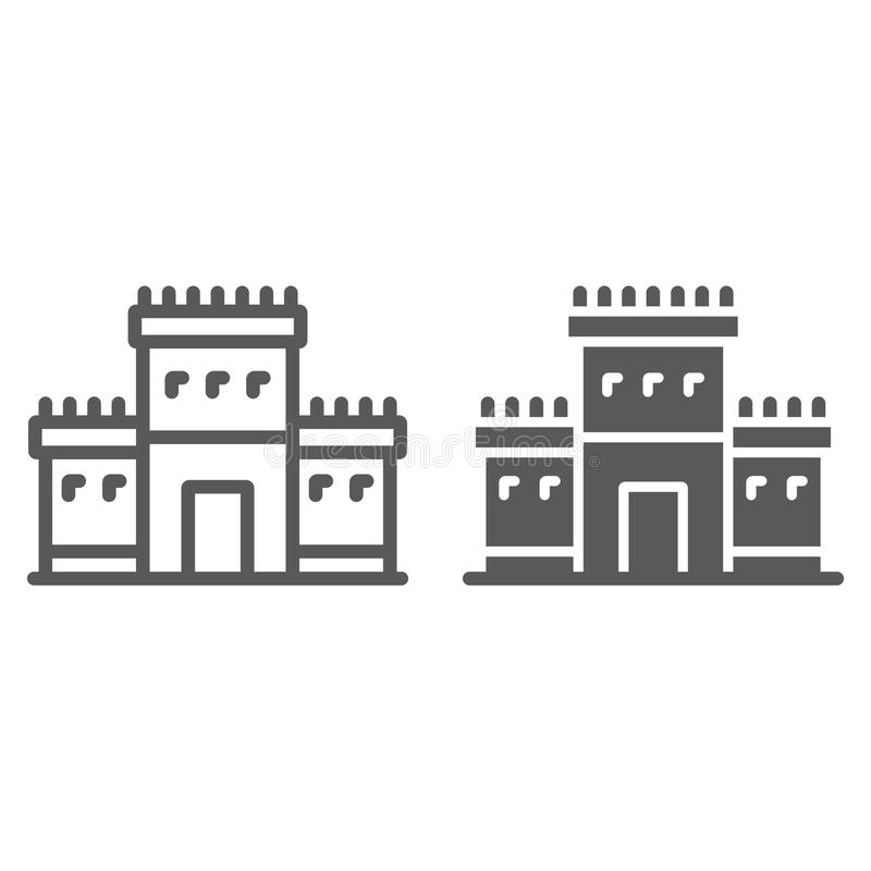 Solomon temple in jerusalem line and glyph icon, religion and hebrew, jewish tabernacle sign, vector graphics, a linear royalty free illustration