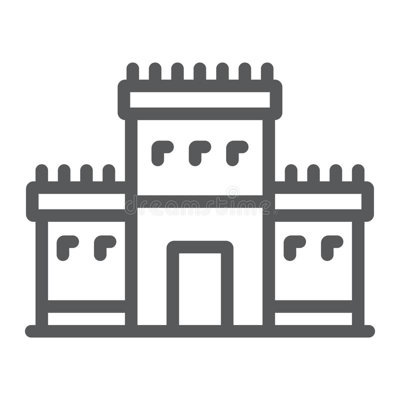 Solomon temple in jerusalem line icon, religion and hebrew, jewish tabernacle sign, vector graphics, a linear pattern on royalty free illustration