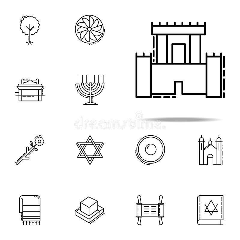 Solomon Temple symbol Universell uppsättning för judendomsymboler för rengöringsduk och mobil royaltyfri illustrationer