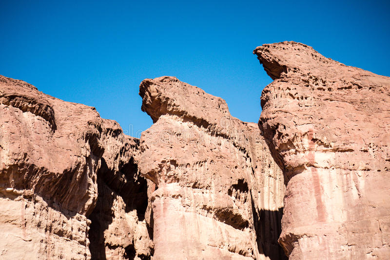 The Solomons Pillars Geological feature from Timna Park Israel stock photo