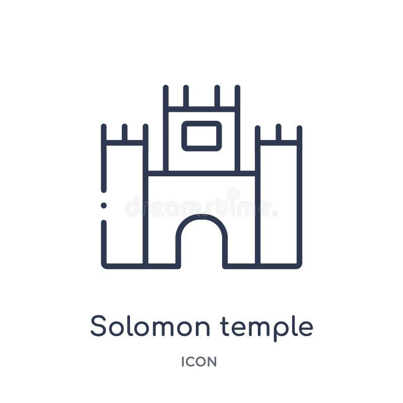 solomontempel i den jerusalem symbolen från religionöversiktssamling Tunn linje solomontempel i den jerusalem symbolen som isoler vektor illustrationer