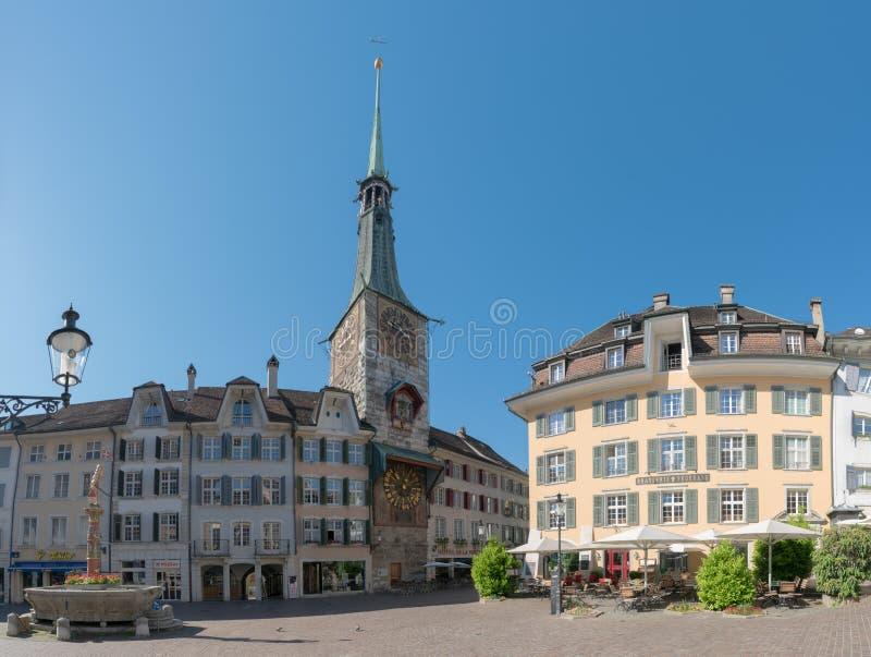 Solothurn, AINSI/Suisse - 2 juin 2019 : vieille ville historique dans la ville suisse de Solothurn avec vue sur le Marktplatz cél images libres de droits