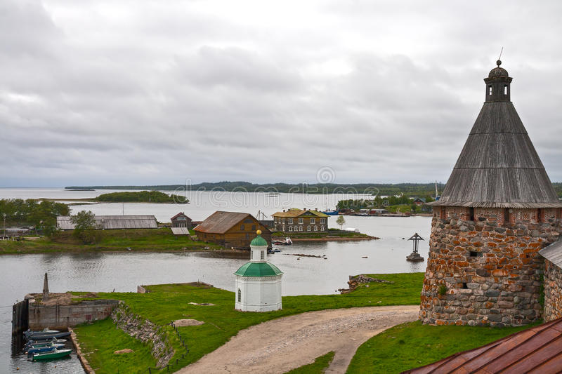 Solovetsky Islands. The Solovetsky Islands. Top view on the Bay of Prosperity and Herring Cape stock photo