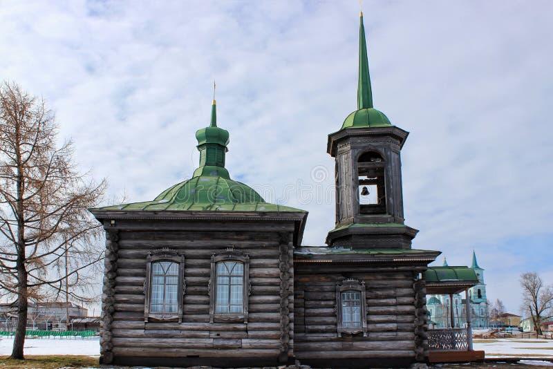 Solovki木教堂  更低的Sinyachikha乌拉尔 库存照片