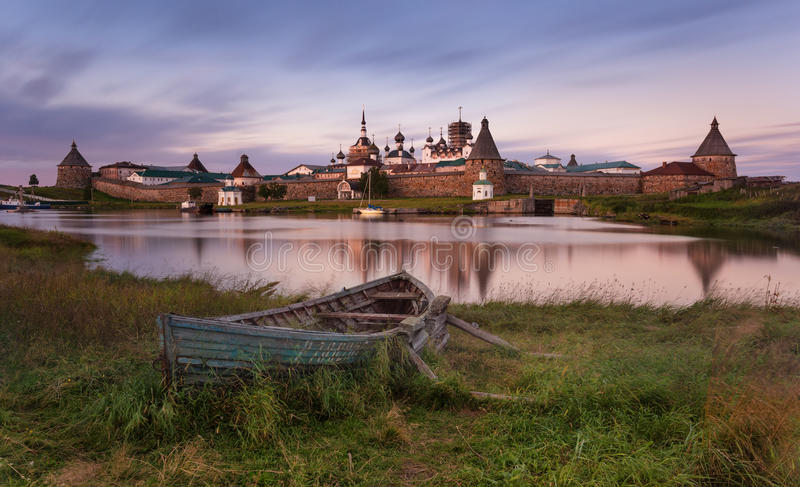 Solovki Island, Russia. Classic Scenic View Of The Solovetsky Spaso-Preobrazhensky Transfiguration Monastery And The Big Old Boat stock photography