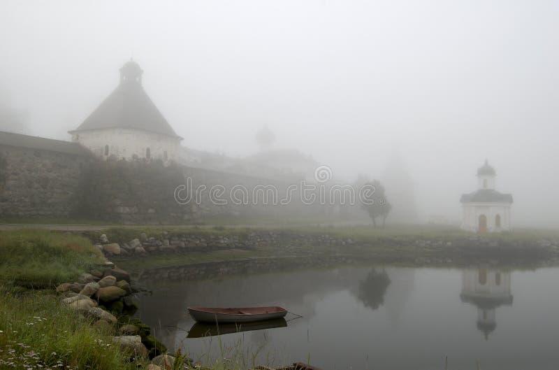 Solovki. Niebla imagen de archivo libre de regalías