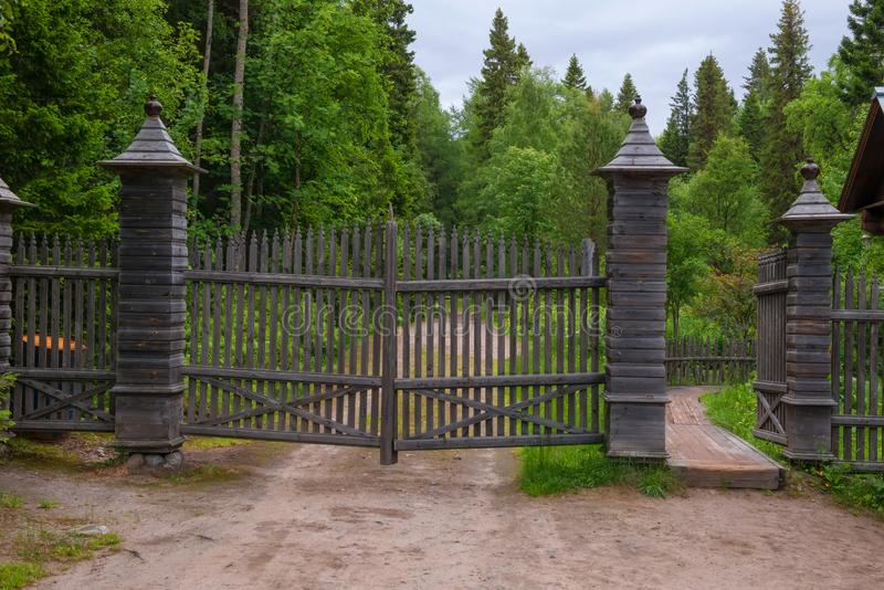 Entrance to the Botanical garden of the Solovetsky Islands. SOLOVKI, REPUBLIC OF KARELIA, RUSSIA - JUNE 27, 2018:  Entrance to the  Botanical garden of the royalty free stock photo