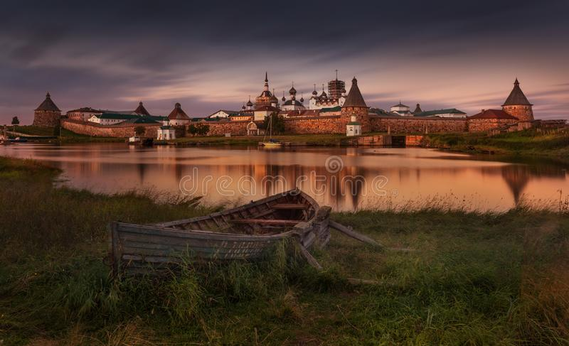 Solovki Or Solovetsky Islands,The Largest Archipelago Of White Sea. Classic View With Old Wooden Russian Boat On The Spaso-Preobra. Zhensky Solovetsky Monastery royalty free stock photos