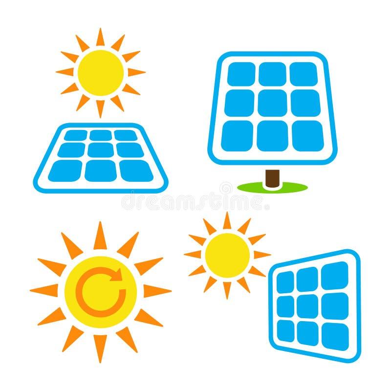 Solpanel - eergy symbolsuppsättning för eco stock illustrationer