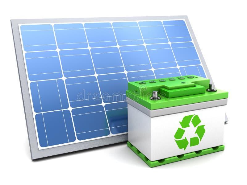 Solpanel och gräsplanbatteri stock illustrationer