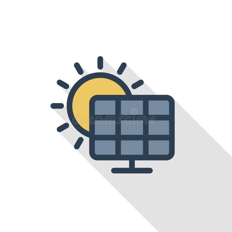 Solpanel tunn linje lägenhetfärgsymbol för alternativ solenergi Linjärt vektorsymbol Färgrik lång skuggadesign royaltyfri illustrationer