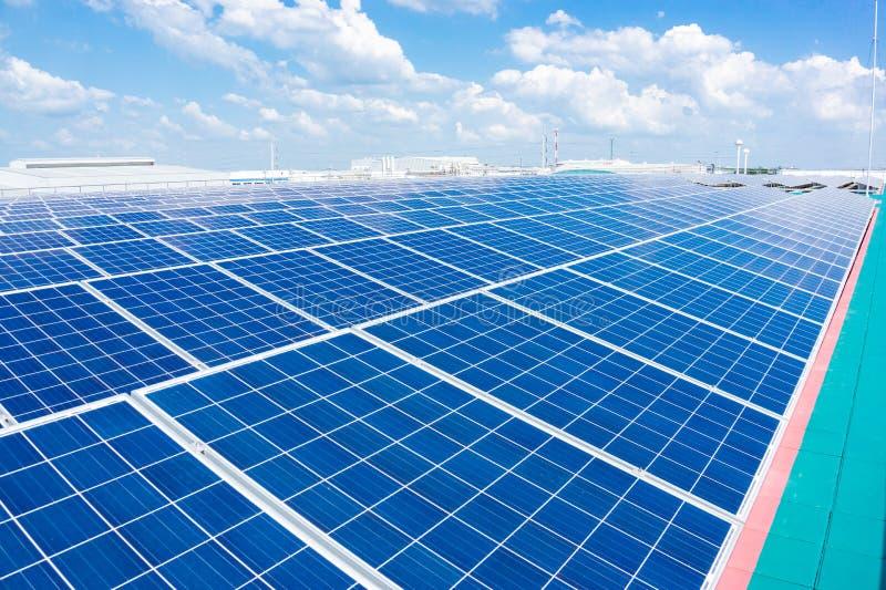Solpanelen på en naturlig energi för sol- lantgård är en intelligens för ren energi fotografering för bildbyråer