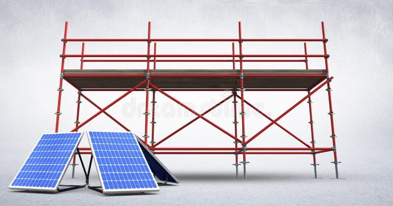 solpaneler 3D mot materialet till byggnadsställning i vitt rum stock illustrationer