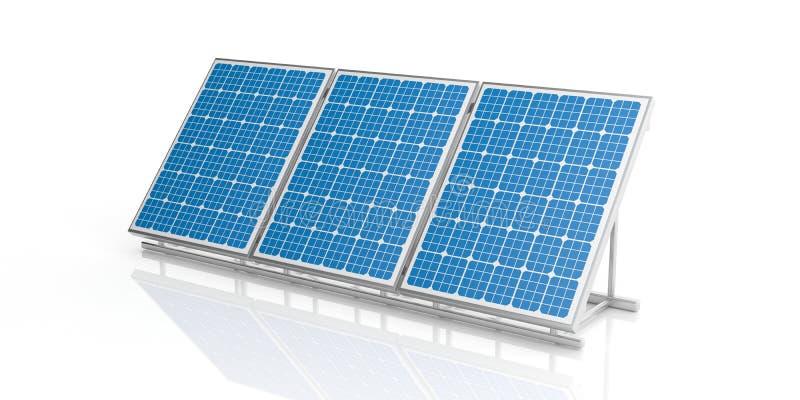 solpaneler för tolkning 3d stock illustrationer
