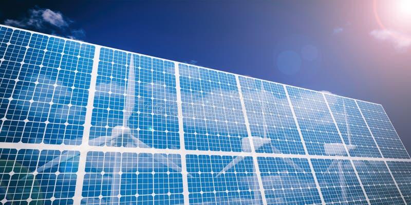 solpaneler för tolkning 3d och vindgeneratorer royaltyfri illustrationer
