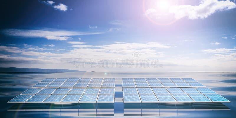 solpaneler för tolkning 3d på havs- och himmelbakgrund vektor illustrationer